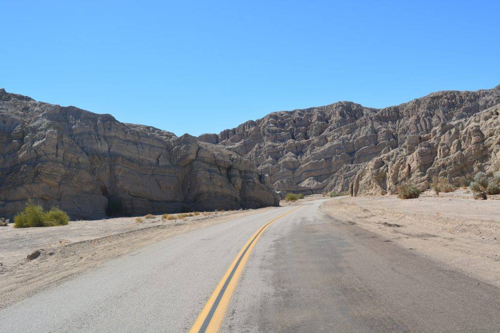 Most of the streets to Anza Borrego from Joshua Tree look like that ;-)